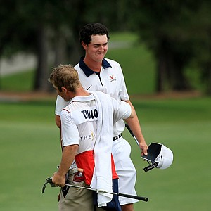 Austen Truslow with his caddie Jameson Stocks after Truslow won the Junior Players Championship at TPC Sawgrass.