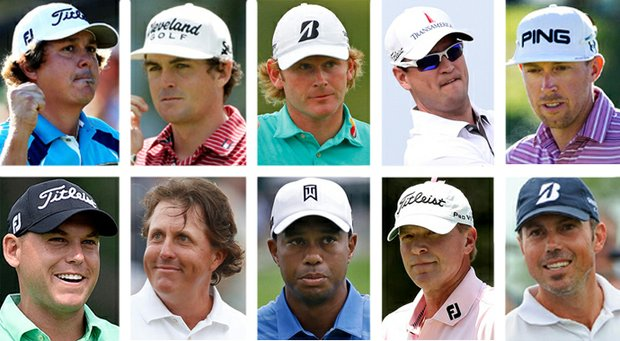 Members of the 2013 U.S. Presidents Cup team, clockwise from top left: Jason Dufner, Keegan Bradley, Brandt Snedeker, Zach Johnson, Hunter Mahan, Matt Kuchar, Steve Stricker, Tiger Woods, Phil Mickelson and Bill Haas.