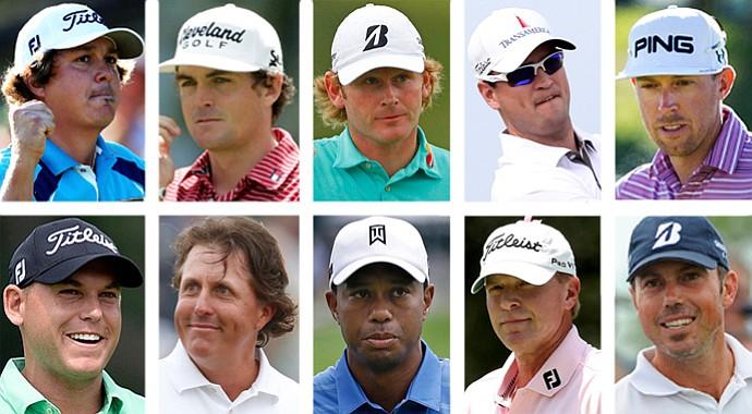 Members of the 2013 U.S. Presidents Cup team, clockwise from top left: Jason Dufner, Keegan Bradley, Brandt Snedeker, Zach Johnson, Hunter Mahan, Matt Kuchar, Steve Stricker, Tiger Woods, Phil Mickelson and Bill Haas.