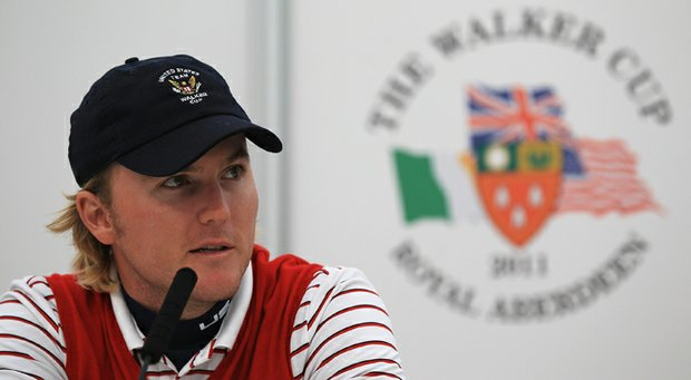 Russell Henley talks to media during the final day of practice as a preview of the 2011 Walker Cup held on the Balgownie Links at Royal Aberdeen (Scotland) Golf Club.