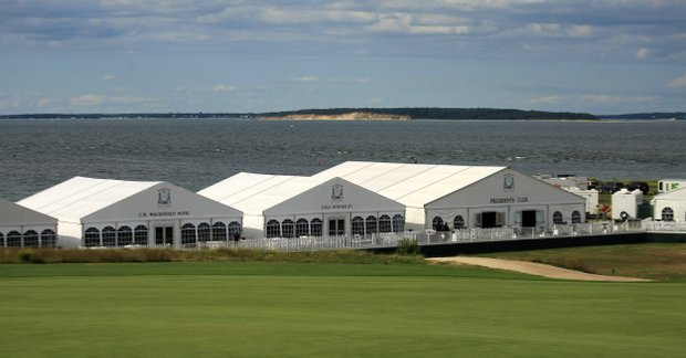 Hospitality tents during the 2013 Walker Cup at National Golf Links of America in Southampton, N.Y.