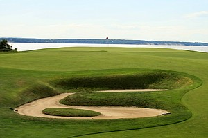 A view of No. 18 during the 2013 Walker Cup at National Golf Links of America in Southampton, N.Y.