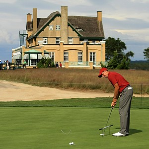USA's Patrick Rodgers putts on the practice green during the 2013 Walker Cup at National Golf Links of America in Southampton, N.Y.