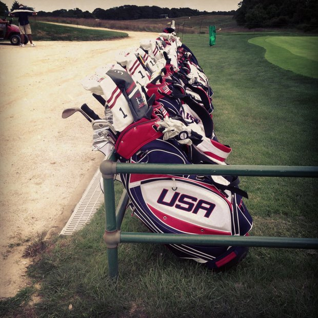 The USA golf bags during the 2013 Walker Cup at National Golf Links of America in Southampton, N.Y.