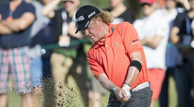 Miguel Angel Jimenez during the first round of the 2013 Omega European Masters.
