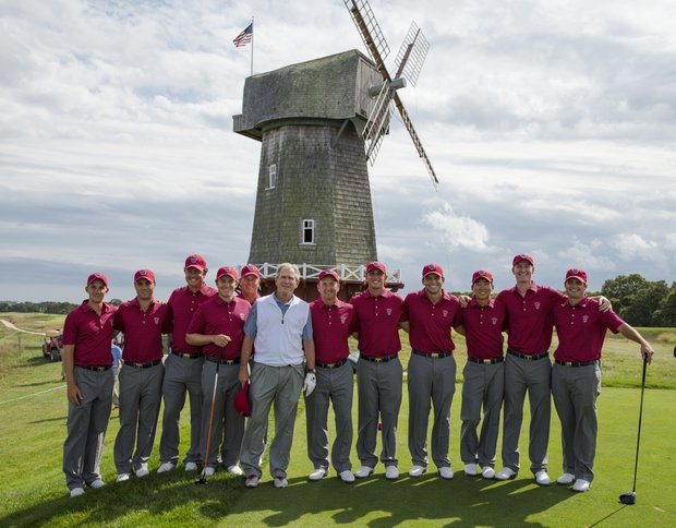 George Bush with the U.S. team at National Golf Links.