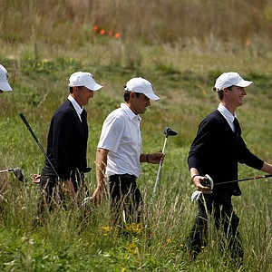USA's Jordan Niebrugge leads the pack as they leave No. 16 during Friday's practice at the 2013 Walker Cup at National Golf Links of America in Southampton, N.Y.