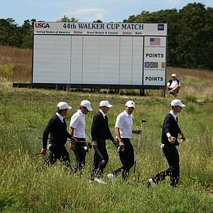 Some of the USA team players leave the 16 tee during Friday's practice at the 2013 Walker Cup at National Golf Links of America in Southampton, N.Y.