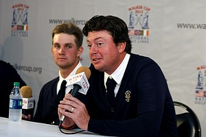 USA's Nathan Smith talks during the Friday press conference at the 2013 Walker Cup at National Golf Links of America in Southampton, N.Y.