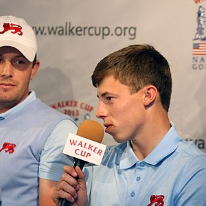 Matt Fitzpatrick talks with the media during Friday's press conference at the 2013 Walker Cup at National Golf Links of America in Southampton, N.Y.
