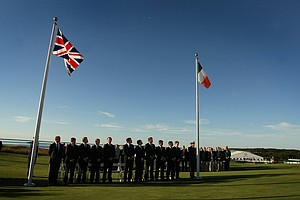 Great Britain and Irleland flags are flown during the opening ceremonies at the 2013 Walker Cup at National Golf Links of America in Southampton, N.Y.
