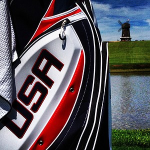 The USA bag during the 2013 Walker Cup at National Golf Links of America in Southampton, N.Y.