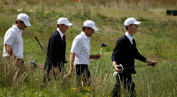 Jordan Niebrugge (far left) played a practice session Friday at National Golf Links with U.S. teammates (from left) Bobby Wyatt, Todd White and Cory Whitsett.