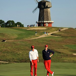 USA's Nathan Smith and Jordan Niebrugge on Saturday of the 2013 Walker Cup at National Golf Links of America in Southampton, N.Y.