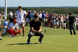 Nathan Kimsey reacts to missing his putt at No. 18 on Saturday of the 2013 Walker Cup at National Golf Links of America in Southampton, N.Y.