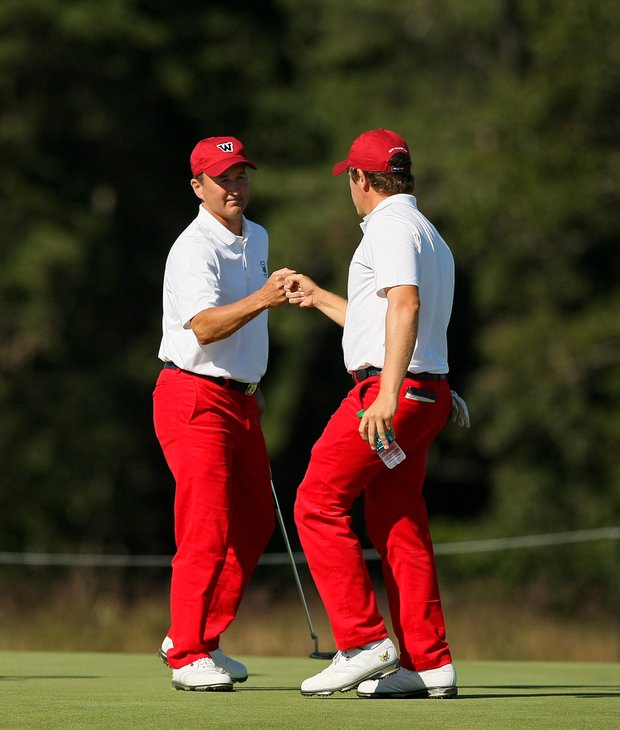 USA's Todd White and Michael Weaver from early Saturday of the 2013 Walker Cup at National Golf Links of America in Southampton, N.Y.