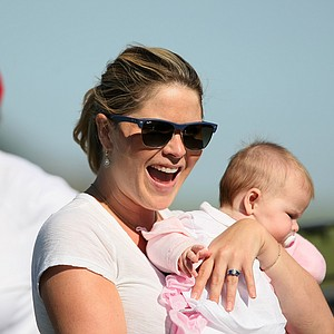 Jenna Bush Hager with her daugher Mila on Saturday of the 2013 Walker Cup at National Golf Links of America in Southampton, N.Y.