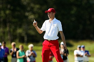 USA's Justin Thomas Saturday of the 2013 Walker Cup at National Golf Links of America in Southampton, N.Y.