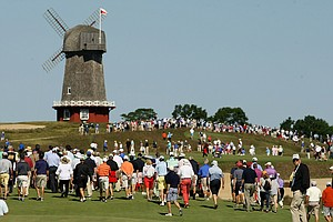 Spectators wander on Saturday of the 2013 Walker Cup at National Golf Links of America in Southampton, N.Y.
