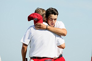 Team USA's Bobby Wyatt and Cory Whitsett halved their match with GB&I's Nathan Kimsey and Max Orrin on Saturday of the 2013 Walker Cup at National Golf Links of America in Southampton, N.Y.