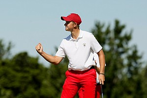 USA's Patrick Rodgers fist pumps after he and Justin Thomas defeated GB&I's Gavin Moynihan and Kevin Phelan, 2 and 1, on Saturday of the 2013 Walker Cup at National Golf Links of America in Southampton, N.Y.