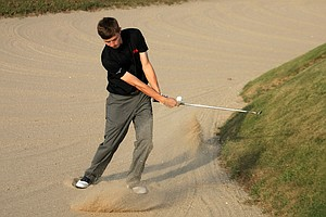 Matthew Fitzpatrick hits a bunker shot at No. 17 during Saturday's singal matches of the 2013 Walker Cup at National Golf Links of America in Southampton, N.Y.