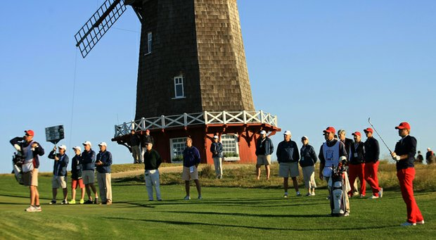 Bobby Wyatt hits a shot during 2013 Walker Cup play at National Golf Links in Southampton, N.Y.