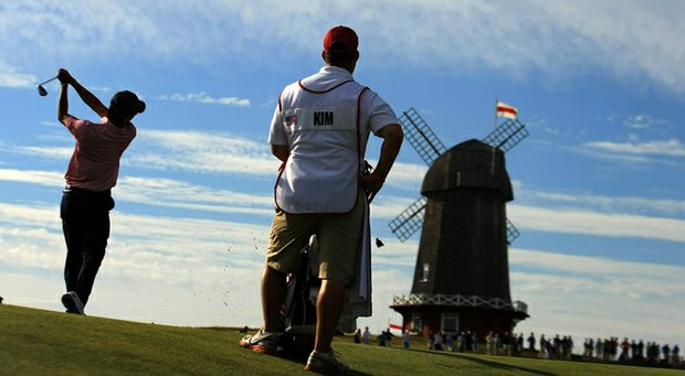 MIchael Kim during the first day of the 2013 Walker Cup at National Golf Links in Southampton, N.Y.