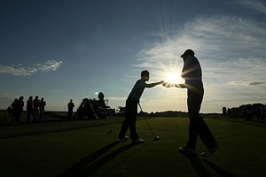 GB&I's Neil Raymond and Matthew Fitzpatrick team up during Sunday foursomes of the 2013 Walker Cup at National Golf Links of America in Southampton, N.Y.