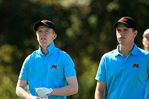 GB&I's Gavin Moynihan and Kevin Phelan during Sunday foursomes of the 2013 Walker Cup at National Golf Links of America in Southampton, N.Y.