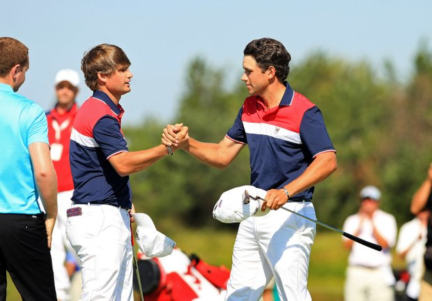 Bobby Wyatt and Cory Whitsett earned the first point of the morning during Sunday foursomes of the 2013 Walker Cup at National Golf Links of America in Southampton, N.Y.