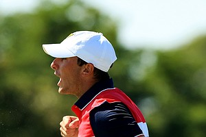 Max Homa celebrates making the winning putt at No. 18 during Sunday foursomes of the 2013 Walker Cup at National Golf Links of America in Southampton, N.Y.