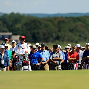 USA's Patrick Rodgers hits a shot at No. 18 during Sunday foursomes of the 2013 Walker Cup at National Golf Links of America in Southampton, N.Y.