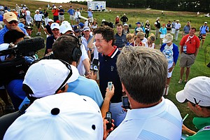 Team USA's Nathan Smith clinched the final point during Sunday singles of the 2013 Walker Cup at National Golf Links of America in Southampton, N.Y.