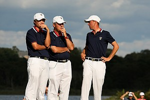 Team USA's Bobby Wyatt, Jim Holtgrieve and Justin Thomas during Sunday singals of the 2013 Walker Cup at National Golf Links of America in Southampton, N.Y.