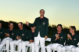 Justin Thomas during the closing ceremony of the 2013 Walker Cup at National Golf Links of America in Southampton, N.Y.