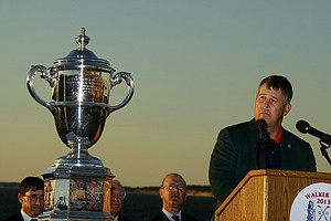 USA captain Jim Holtgrieve relfects on his players and winning the Walker Cup during Sunday foursomes of the 2013 Walker Cup at National Golf Links of America in Southampton, N.Y.