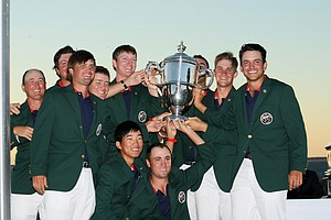 Team USA hoists the trophy during the 2013 Walker Cup closing ceremony at National Golf Links of America in Southampton, N.Y.