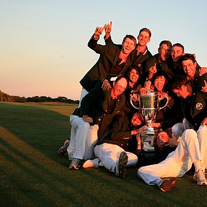 The victorious Team USA celebrate after winning the 2013 Walker Cup, 17-9, at National Golf Links of America in Southampton, N.Y.