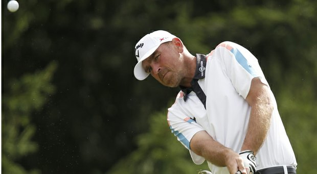 Thomas Bjorn during the final round of his victory at the 2013 Omega European Masters in Switzerland.