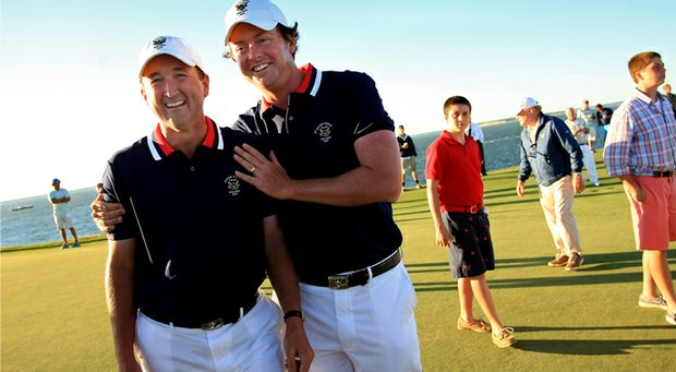 Mid-amateurs Todd White, left, and Nathan Smith won their Sunday singles matches at the Walker Cup. Smith's point clinched an American victory.