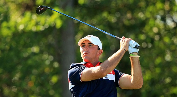 Max Homa during Sunday morning foursomes play at the 2013 Walker Cup in Southampton, N.Y.