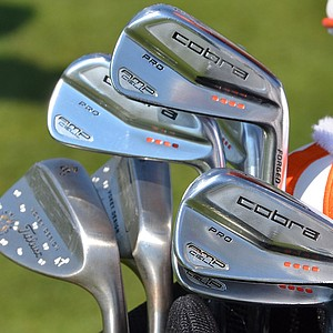 Rickie Fowler uses Cobra AMP Cell Pro muscleback irons.