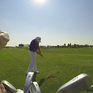 Ping staff member Hunter Mahan works on his iron game.