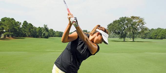When Park swings on the proper plane, her right shoulder is out of view to someone standing behind her.