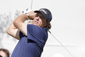 Phil Mickelson during the second round of the BMW Championship, the third event of the 2013 FedEx Cup, from Conway Farms near Chicago.