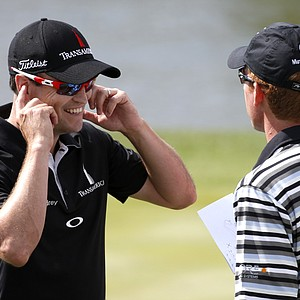Zach Johnson (left) and Roberto Castro during the first round of the BMW Championship, the third event of the 2013 FedEx Cup, from Conway Farms near Chicago.