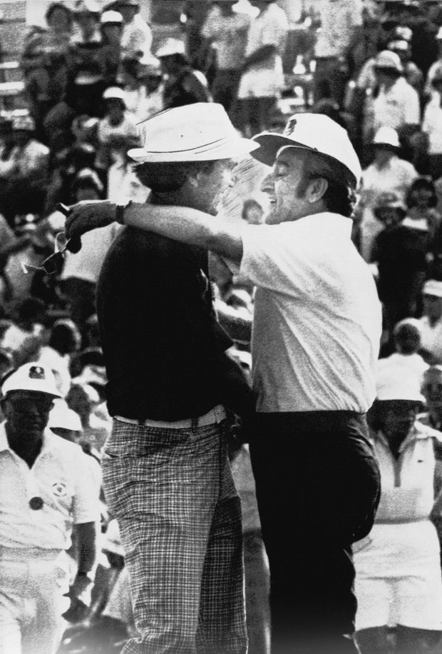 Al Geiberger became the first to shoot 59 on Tour during the second round of the 1977 Memphis Classic, then named for entertainer Danny Thomas who is congratulating him here, at Colonial Country Club. Known at Mr. 59, he had 11 birdies and an eagle on the par-72 course.