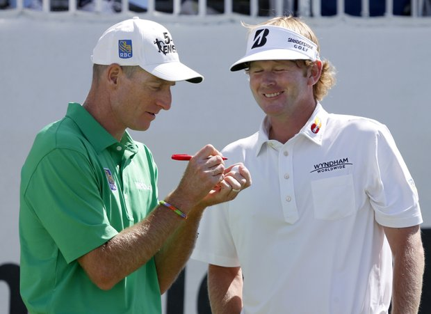 Jim Furyk and Brandt Snedeker start their third round at the BMW Championship, the third event of the 2013 FedEx Cup playoffs on PGA Tour, at Conway Farms near Chicago.