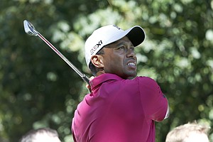 Tiger Woods during the third round of the BMW Championship, the third event of the 2013 FedEx Cup playoffs on PGA Tour, at Conway Farms near Chicago.